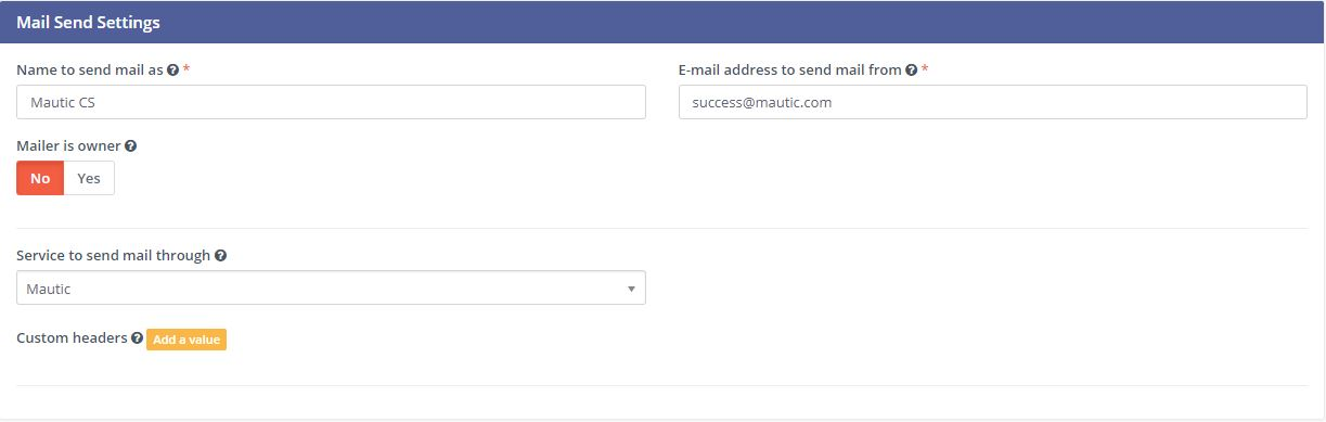 Email Settings - Mail Send Settings