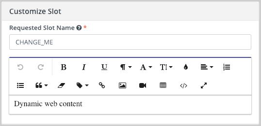 Landing Page Dynamic Web Content Slot