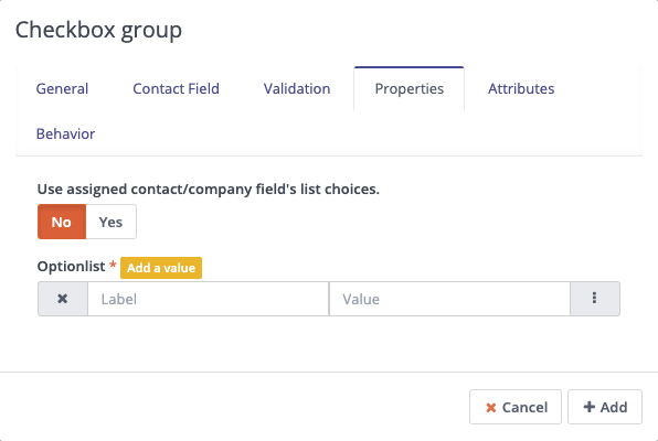 Forms - Checkbox Group - Properties