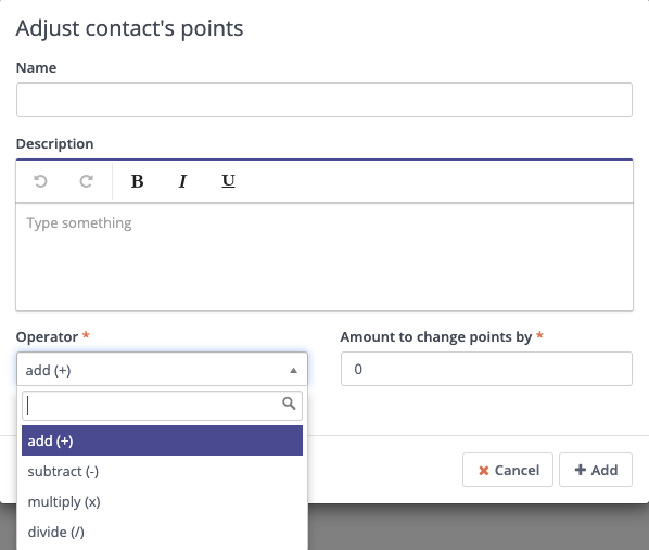 Form Action - Adjust Contact's Points