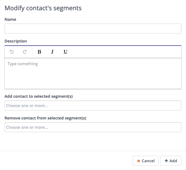 Form Action - Modify Contact Segments